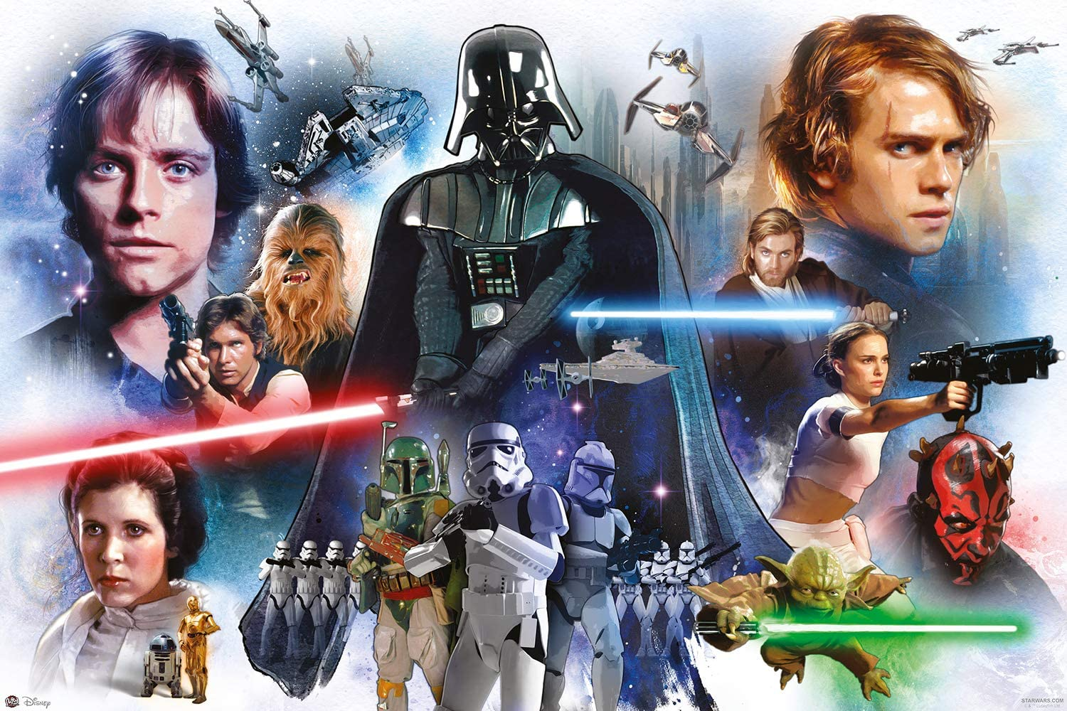 Star Wars Anthology - Episode I, II, III, IV, V & VI - Movie Poster/Print (White Character Montage) (Size: 36 inches x 24 inches)