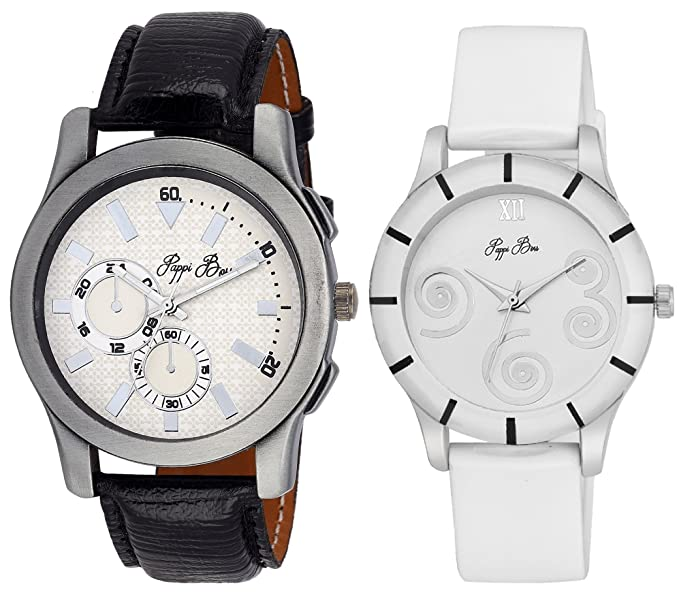 Pappi-Haunt - Pack of 2 - Sober Leather Strap Couple Wrist Watch for Boys, Men, Girls, Women