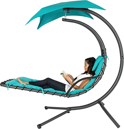 Best Choice Products Hanging Curved Chaise Lounge Chair Swing for Backyard, Patio