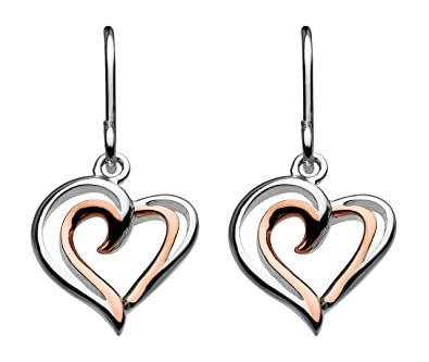 Dew Sterling Silver and Heart Drop Earrings OLWS5I