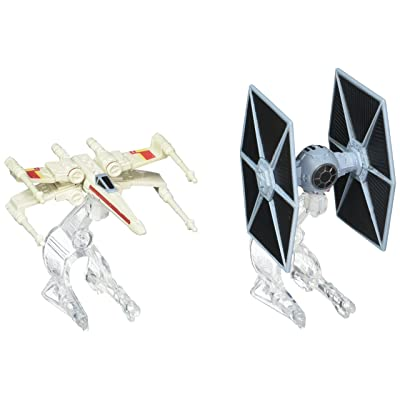 Hot Wheels Star Wars Starship TIE Fighter vs. X-Wing Vehicle 2-Pack: Toys & Games