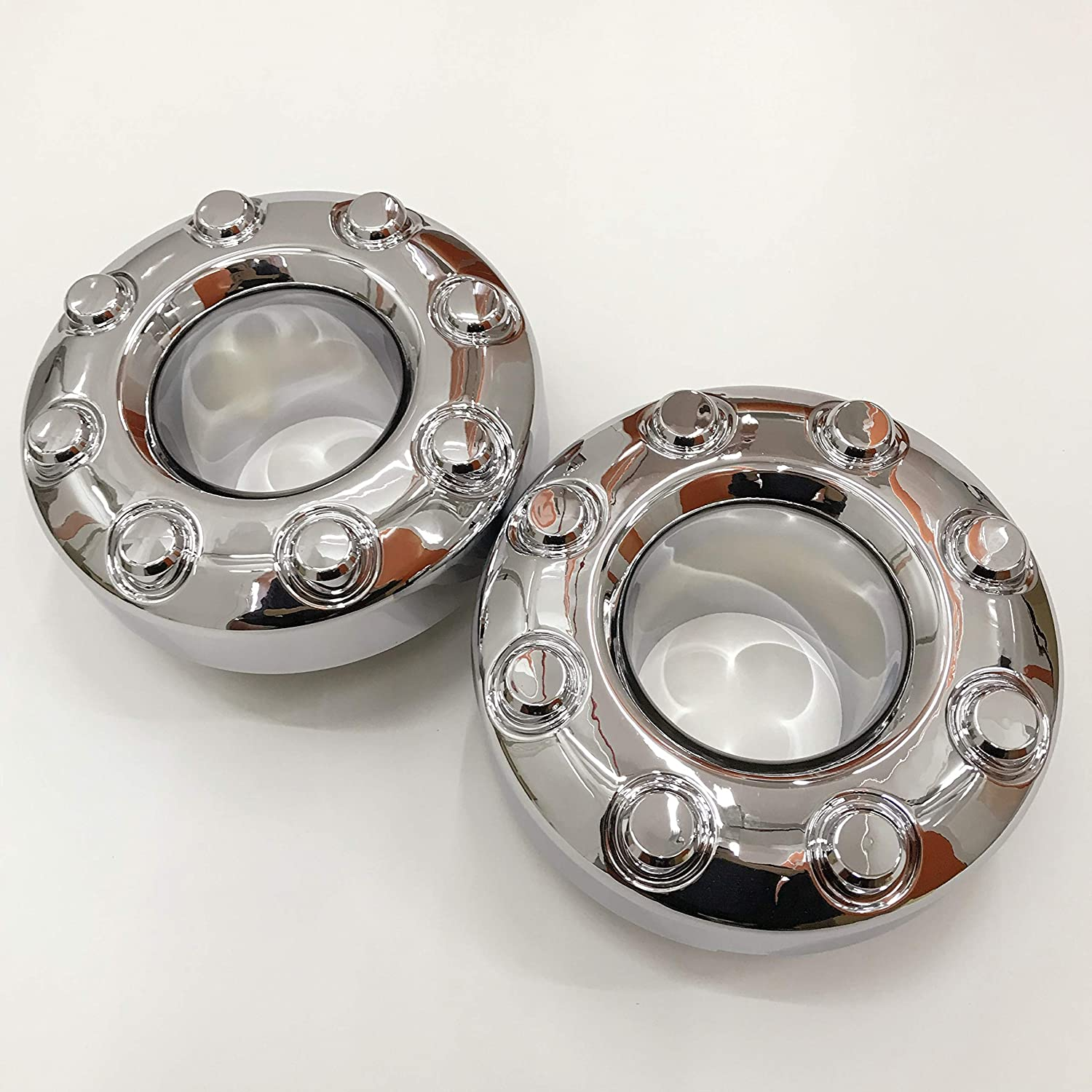 AutoDaily 2PCS Replacement for 2005-2018 F-350 F350 Dually Front 4X4 Open Chrome Wheel Center Hub Cap Replaces 5C3Z1130TA