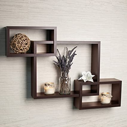 Collectible India Brown Interweave Wall Shelf Shelves Set Of 3 Decorative  Wooden Wall Mounted Rack Intersecting