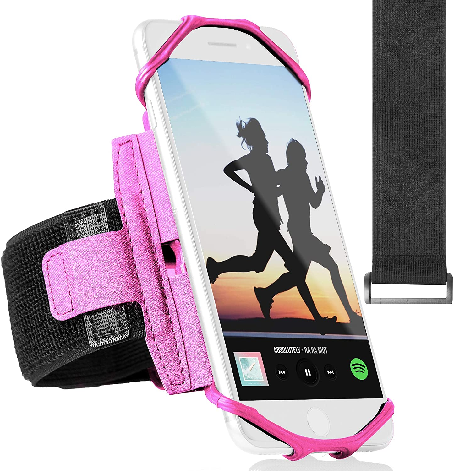 360° Rotatable Sports Running Armband for iPhone XR, XS Max, 8, 8 Plus, 7, 6, Samsung Galaxy A8, S9, S8, S6 Edge, Note, LG; Cell Phone Arm Holder for Men & Women with Free Extender Strap (Pink)