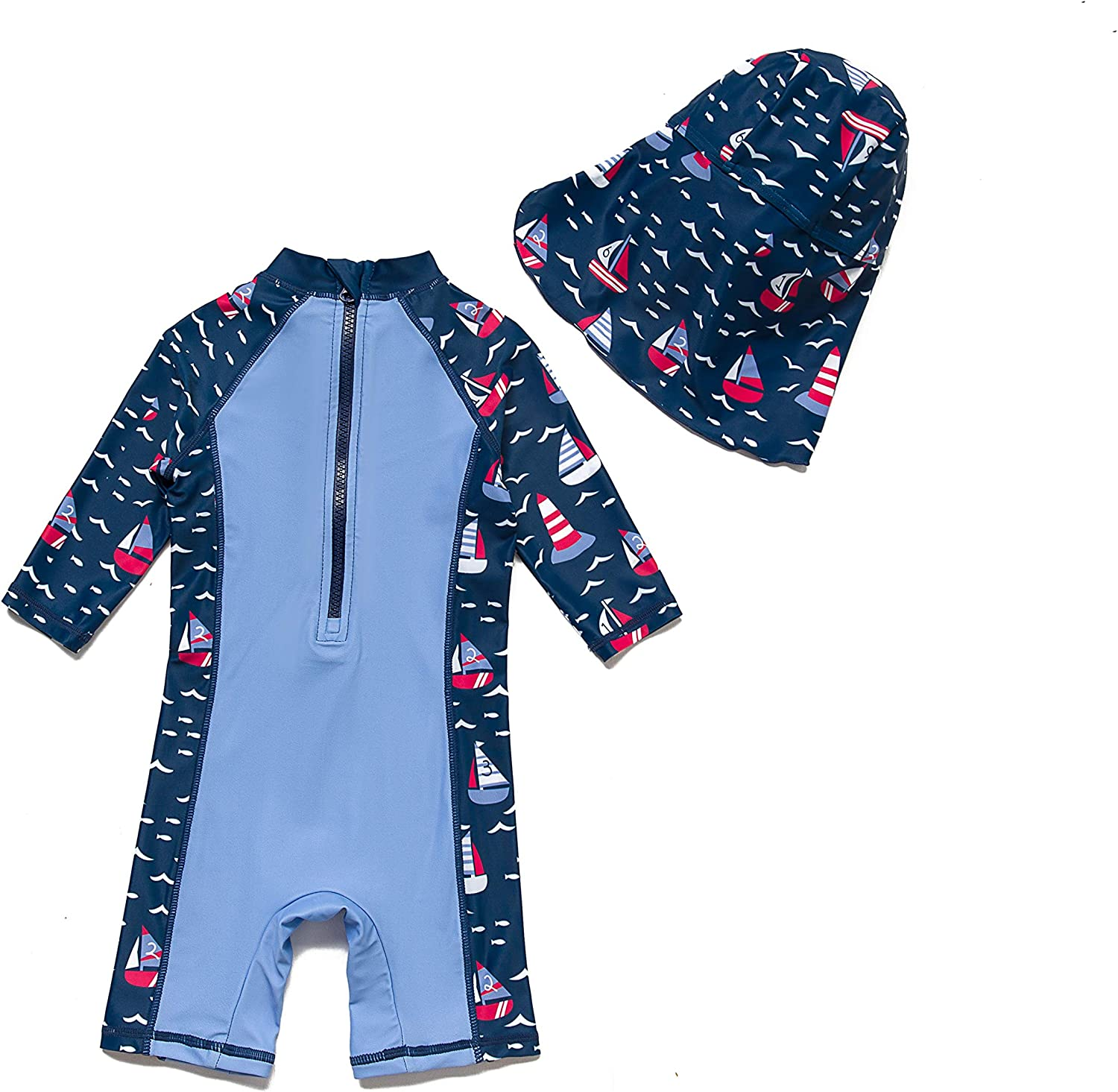 Sun Protection One Pieces with Zipper Swimwear with Sun Hat Blue Star,6-9Months Baby Boys Sunsuit UPF 50