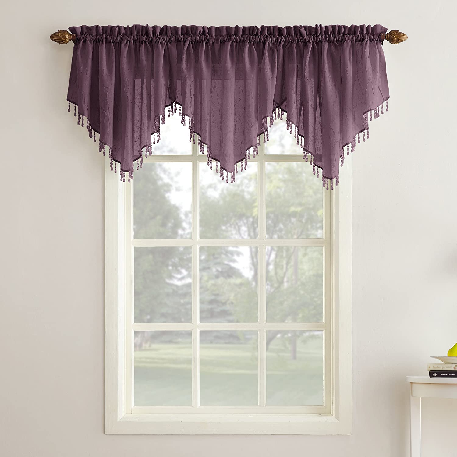 """No. 918 Erica Crushed Texture Sheer Voile Beaded Ascot Rod Pocket Curtain Valance, 51"""" x 24"""", Purple"""