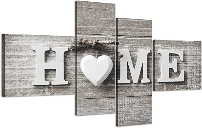 Wallfillers Large Shabby Chic Home Quote - Grey Canvas Wall Art Picture - Split 4 Panel - 4317