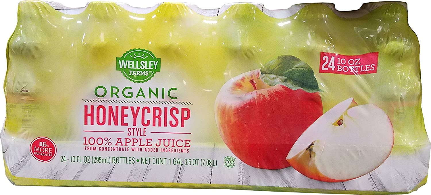 Wellsley Farms Organic Honey Crisp Apple Juice, 24 Count