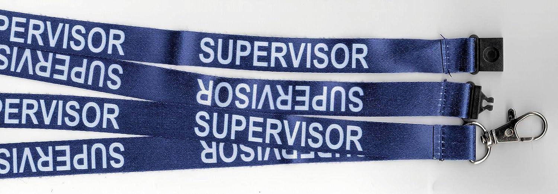 ideal para tarjetas de identificaci/ón. Cord/ón de seguridad para el cuello con dise/ño de supervisor azul