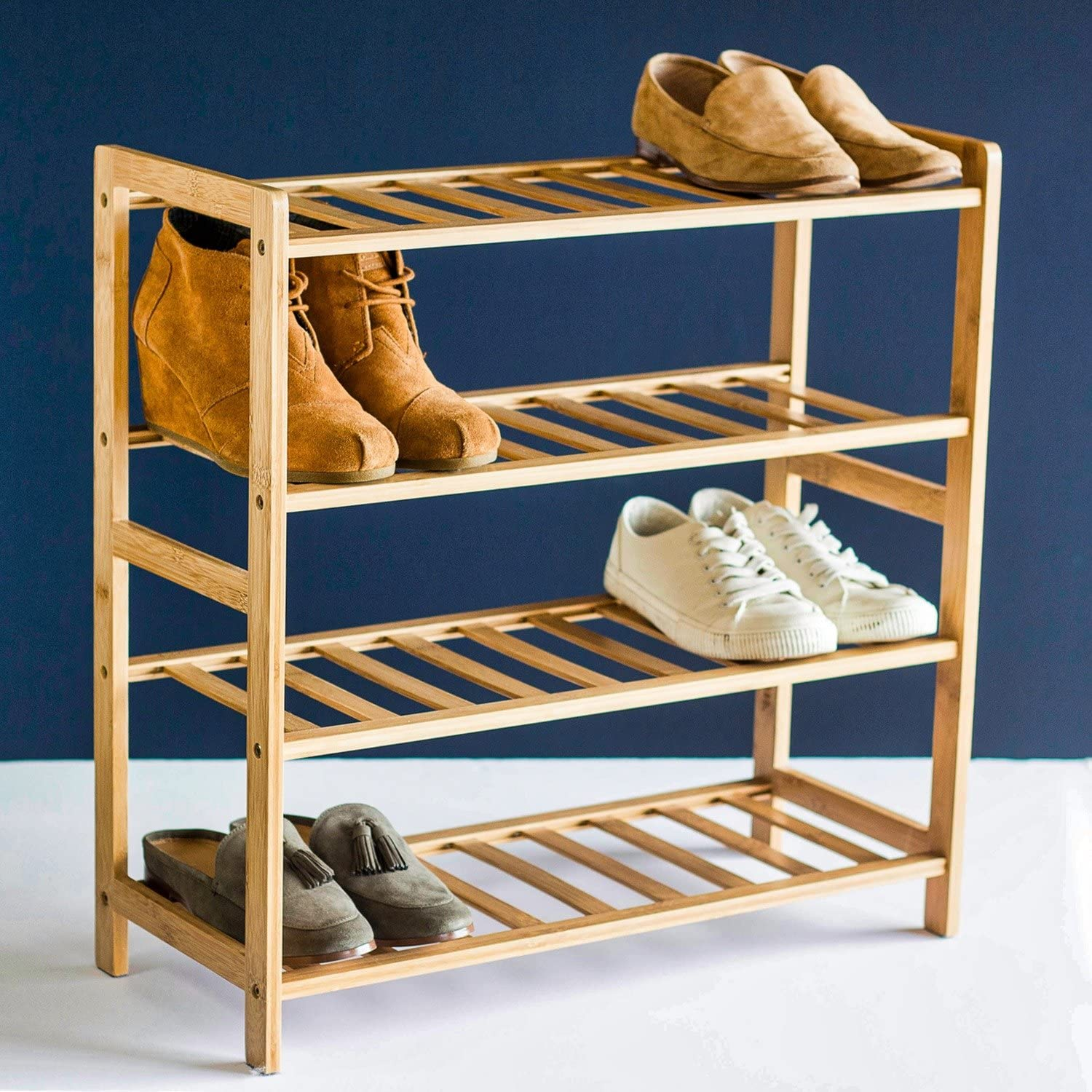 STNDRD. Bamboo Wooden Shoe Rack Organizer