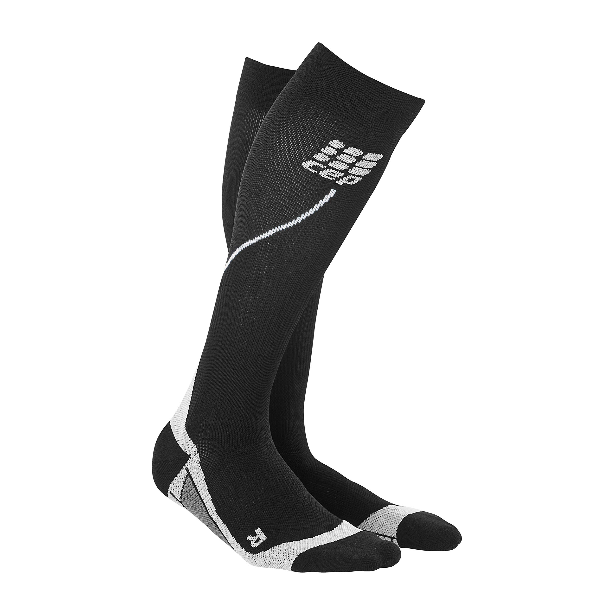 Womens Running Compression Socks - CEP Long 2.0 (Black/Gray) II
