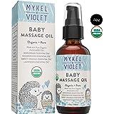 Mykel + Violet - 100% USDA Certified Organic Baby Massage Oil, Calming Blend, Moisturizes Newborn Baby's Delicate Skin, Made