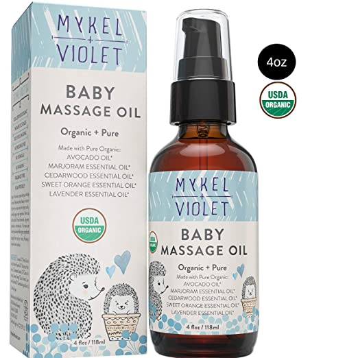 Mykel + Violet - 100% USDA Certified Organic Baby Massage Oil