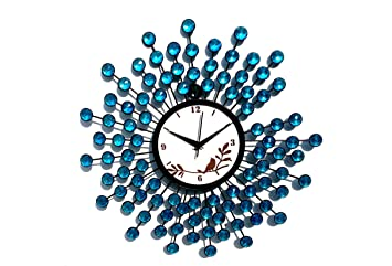 Buy Blue Crystal Wrought Iron Wall Clock Online at Low Prices in