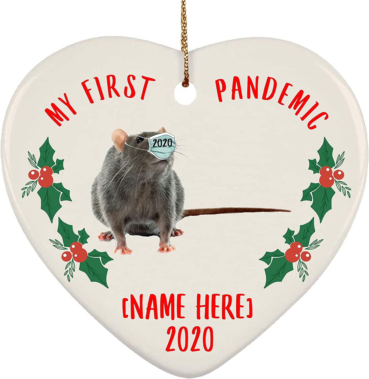 Lovesout Personalized Name Rat Psd Gray My First Pandemic Christmas 2020 Heart Ornament