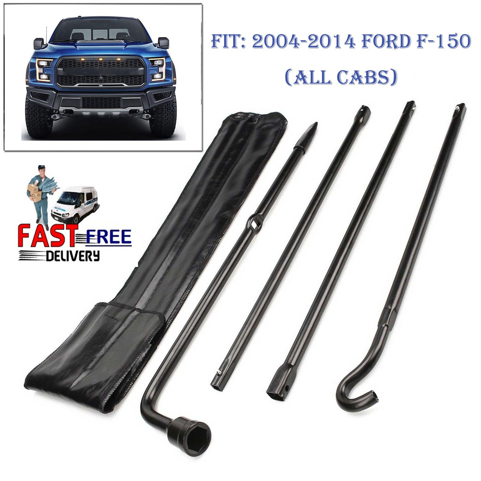 Spare Tire Tool Kit with Case for Ford F150 2004-2014 - 4 Piece Set Kit Lug Wrench Jack Hook Extension Black Steel Iron Replacements Wheel Changing Repair