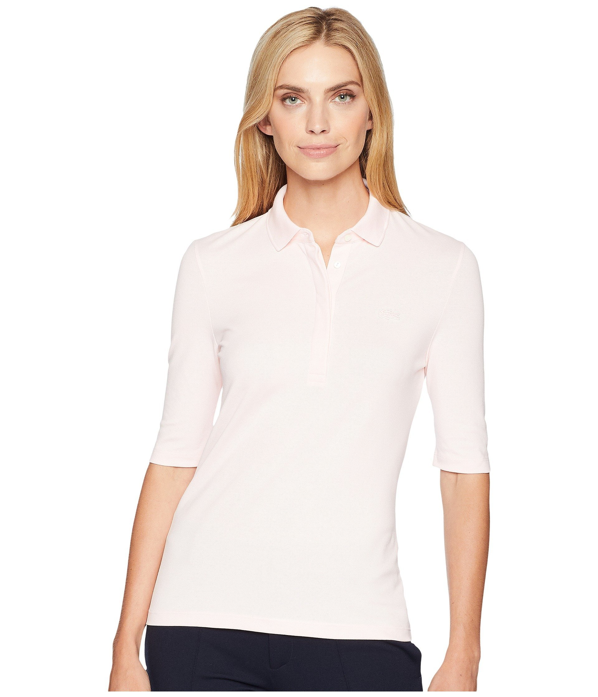 Lacoste Women's Classic Half Sleeve Slim Fit Stretch Pique Polo, PF7844, Flamingo Pink, 8