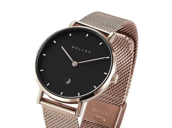 Meller Reloj Analógico para Unisex Adultos de Cuarzo con Correa en Acero Inoxidable W1R-2ROSE: Amazon.es: Relojes