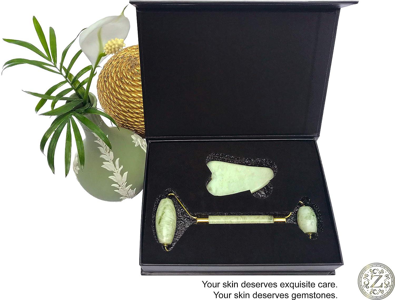 Jade Roller and Gua Sha Set  Luxury Facial Massage Set by Zamlinco  2 Genuine Jade Massager Skin