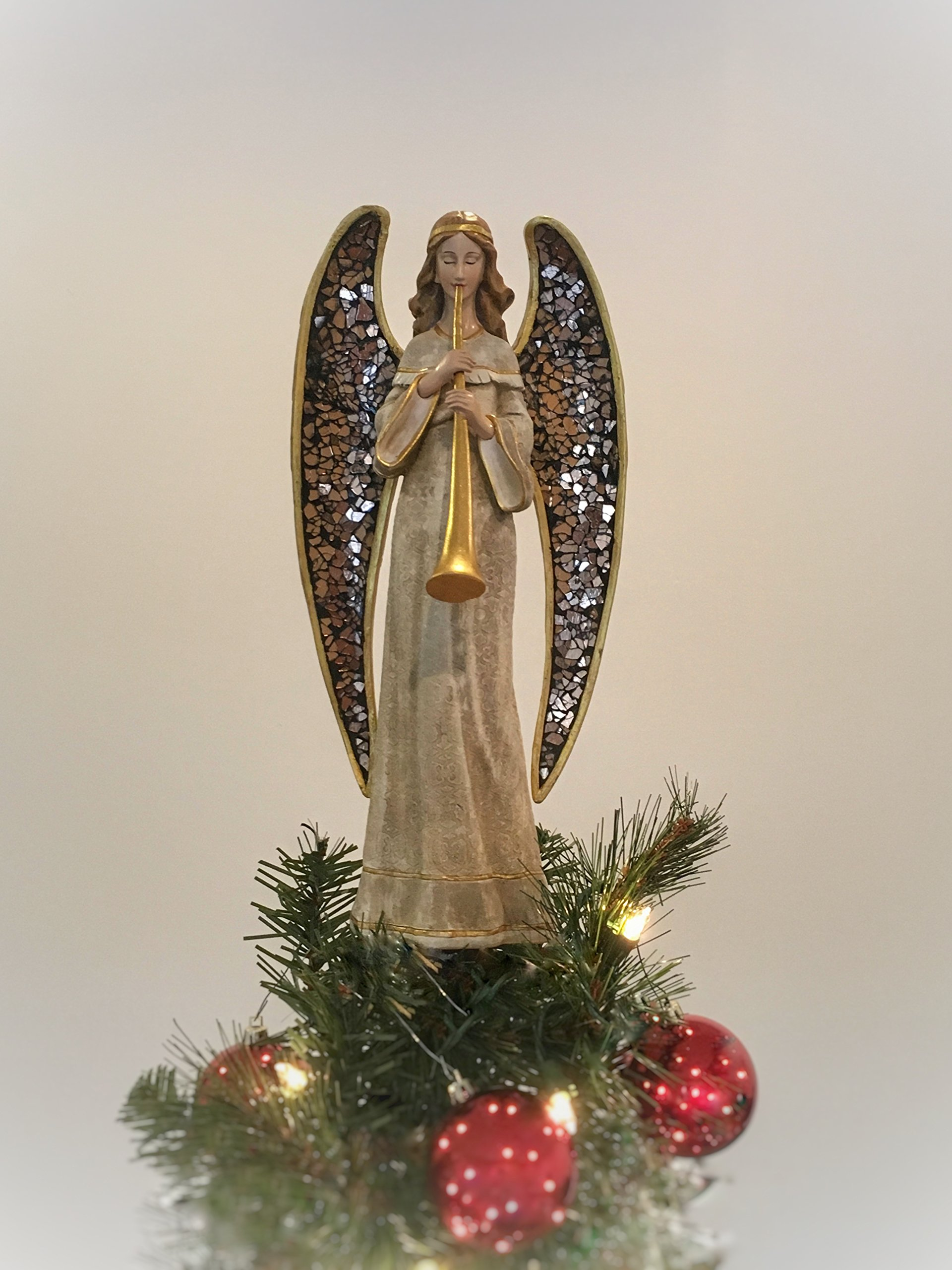 Summit Arbor Angel with Mosaic Wings and Horn Christmas Tree Topper