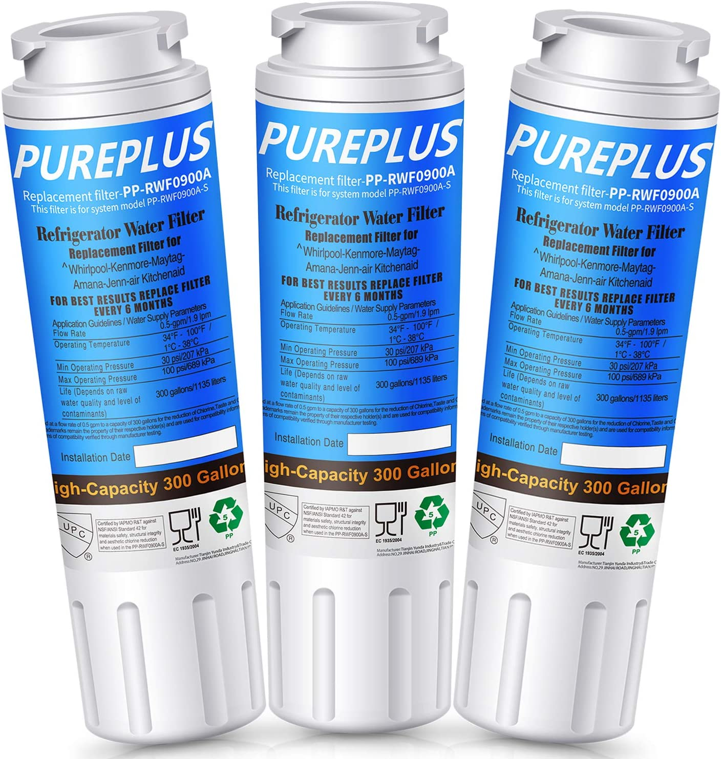 PUREPLUS UKF8001 Replacement for Maytag UKF8001P, Whirlpool EDR4RXD1, Everydrop Filter 4, PUR 4396395, Puriclean II, UKF8001AXX-200, UKF8001AXX-750, RWF0900A, RFC0900A Refrigerator Water Filter, 3Pack