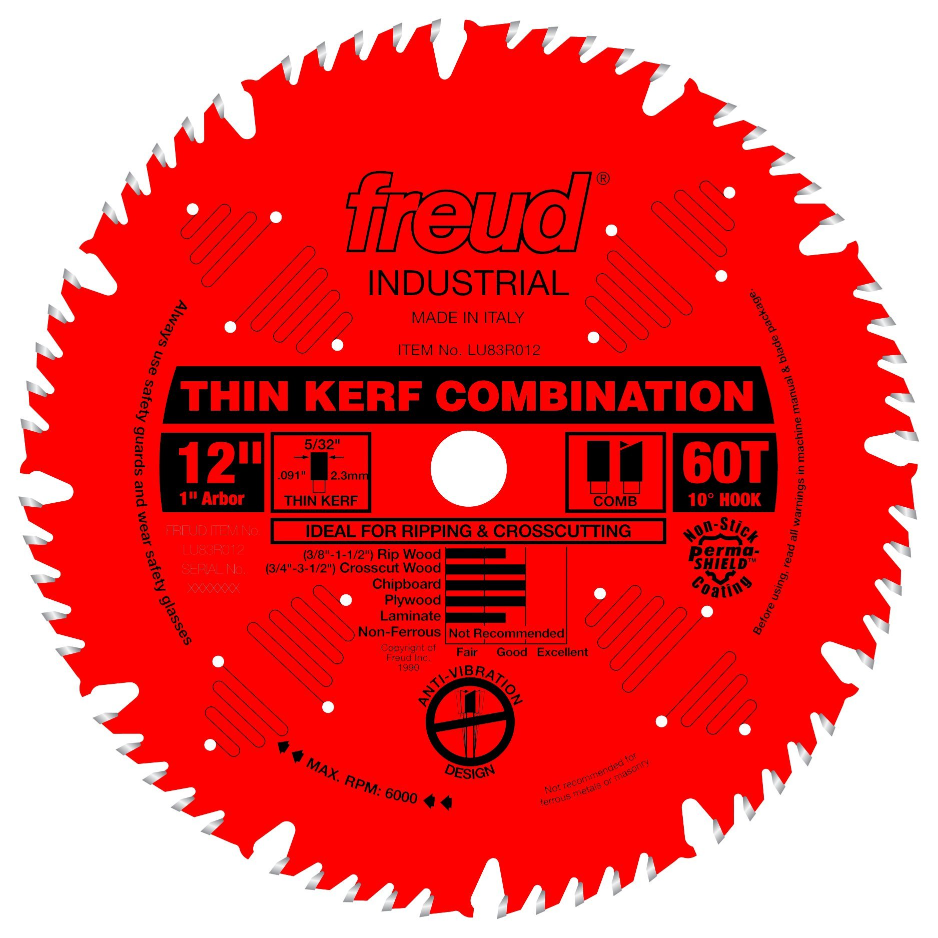 Disco Sierra FREUD Combinación 12 x 60T Thin Kerf (LU83R01
