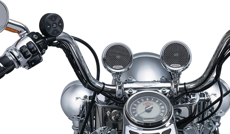 Kuryakyn 2712 MTX Road Thunder Weather Resistant Motorcycle Speakers: 100 Watt Handlebar Mounted Audio Speaker Pods with Bluetooth Audio Controller, Chrome