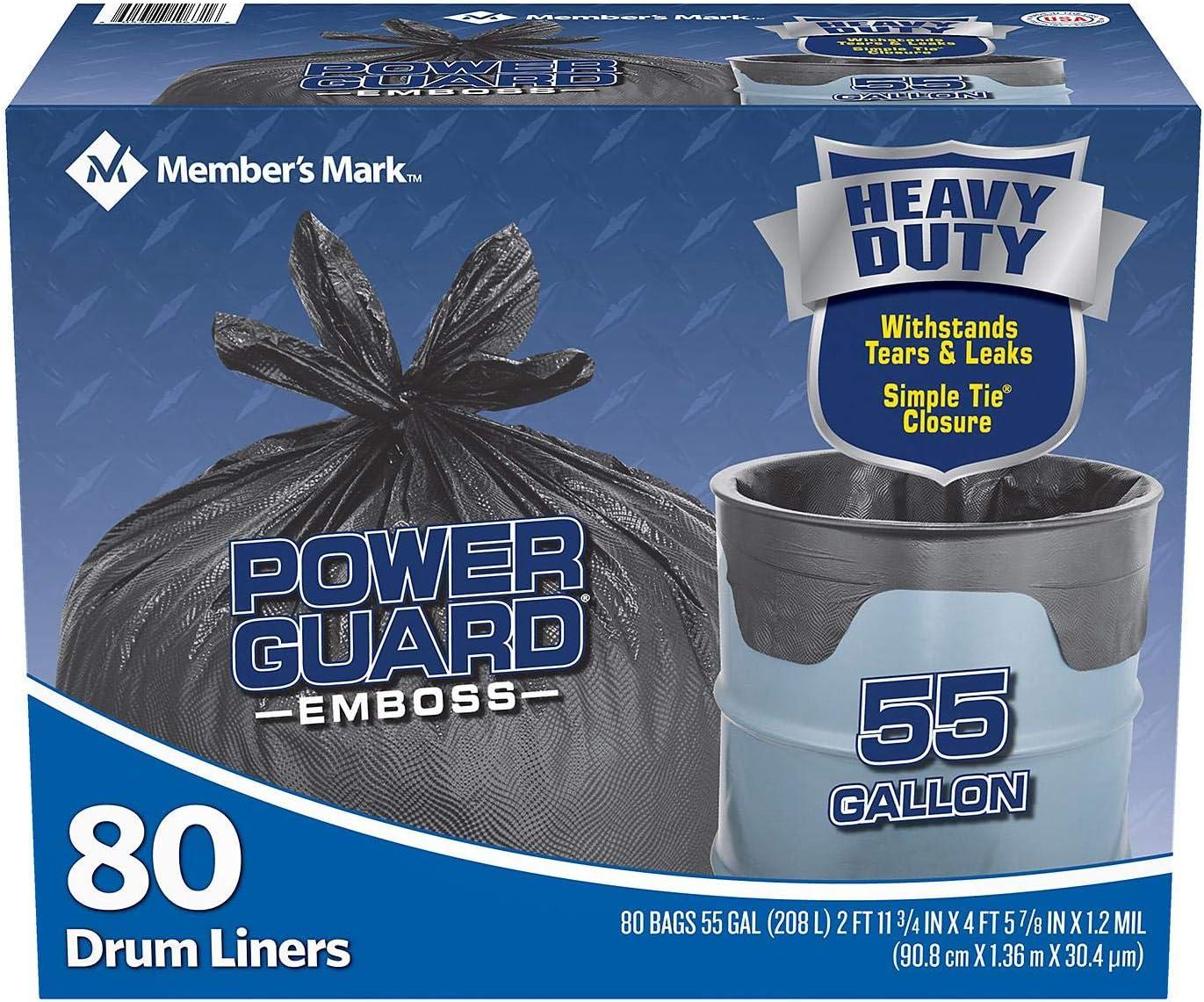 Member's Mark Simple Tie Drum Liner, 55 Gallon, 80 Ct, Black (WCE080B) (1)