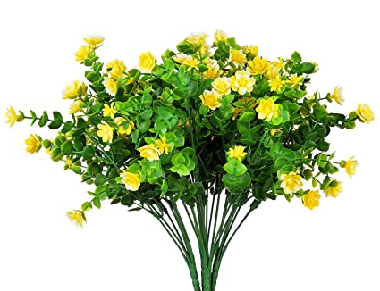 Amazon livissima 4pcs small artificial yellow spring faux livissima 4pcs small artificial yellow spring faux flowers plastic plants fake greenery shrubs for indoor outdoor mightylinksfo