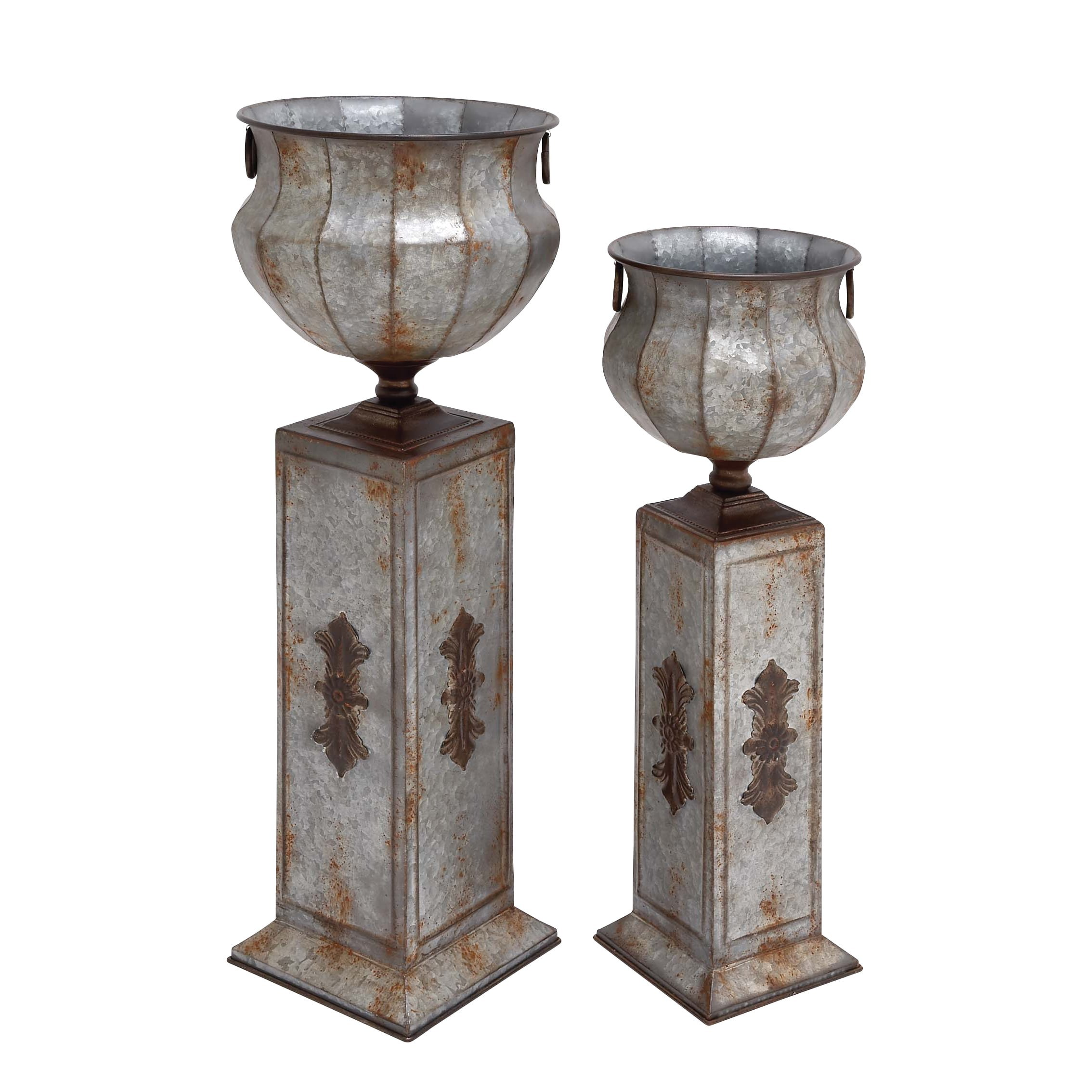 Studio 350 34-inch Metal Pedestal Urn (Set of 2) by Studio 1212