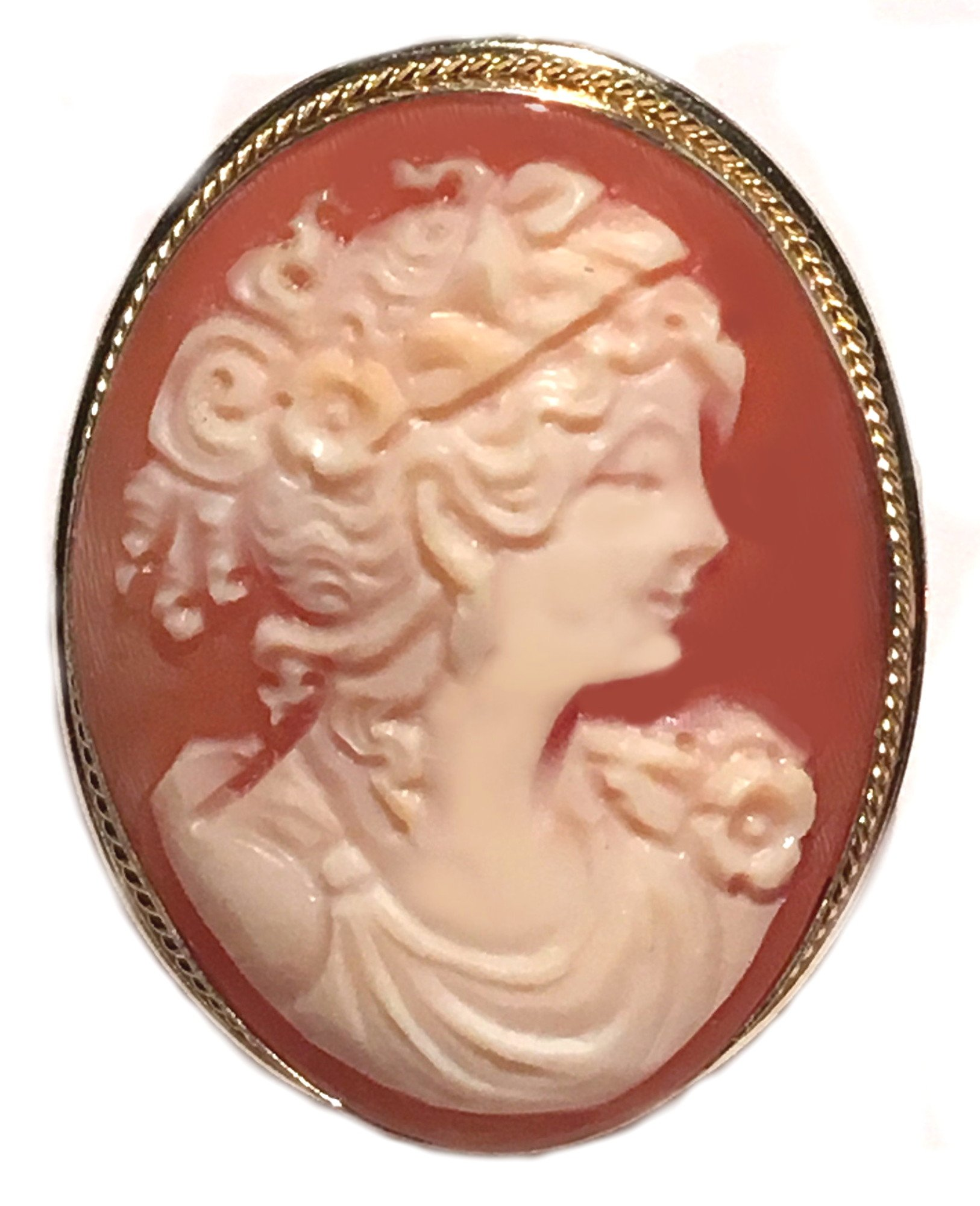 Cameo Brooch Pendant Enhancer, Master Carved, Shell Sterling Silver 18k Gold Overlay Italian Primavera by cameosRus (Image #1)