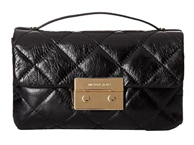 b0d56b506d8b Image Unavailable. Image not available for. Color  MICHAEL Michael Kors  Black Quilted Leather Sloan Top Handle Small Crossbody Bag 30H4GSLM1G