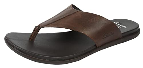 adf43c83828 Clarks Men s Valor Beach Dark Brown Leather Flip-Flops and House Slippers  ...