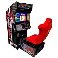 Creative Arcades Full-Size Commercial Grade Seated Racing Arcade Machine | Authentic Steering Wheel and Pedals | 129 Racing Games | 32