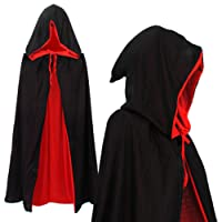 Vampiro Cappuccio Mantello Reversibile Rosso Nero per Bambini o Aulti Halloween Dracula Cosplay 90cm