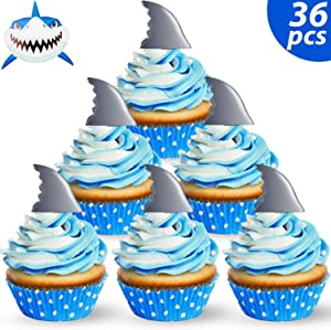 Blulu 36 Pieces Shark Fin Cupcake Toppers Shark Fin Cake Toppers Picks for Ocean Animals Theme Party Shark Family Baby Shower Birthday Party Decorations