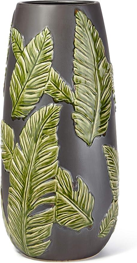 Black and Green Benzara BM186788 Ceramic Vase with Leaf Design Pattern
