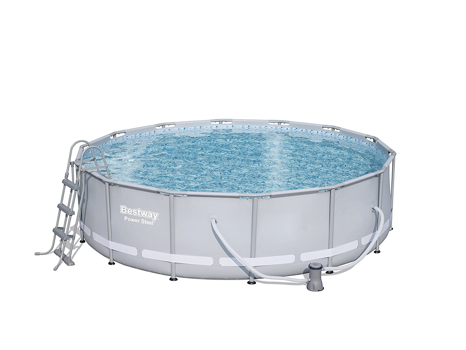 Bestway Power Steel Frame Pool Komplettset, rund, grau, 427 x 107 cm ...