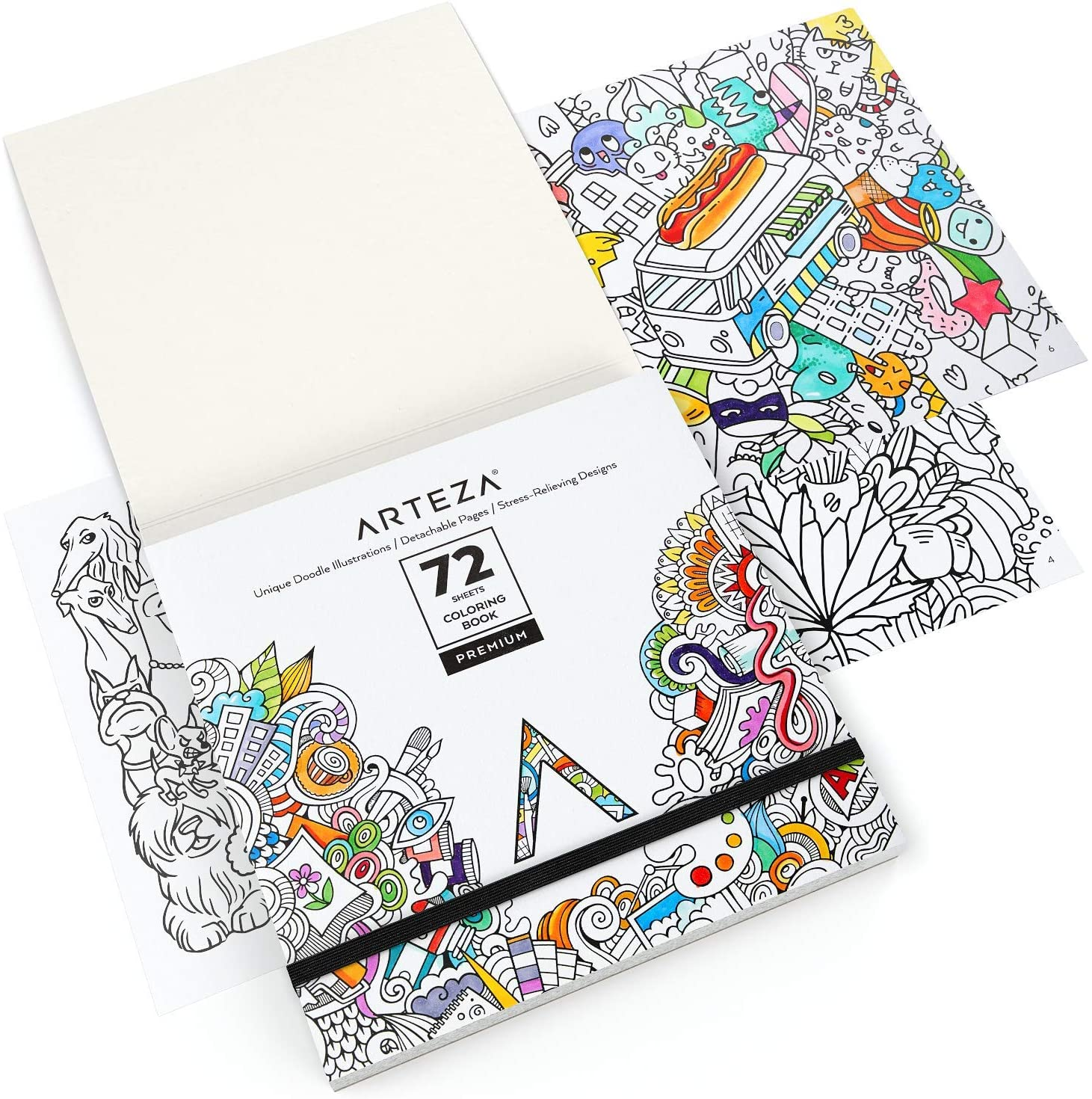 Arts Crafts 72 Relaxing Coloring Pages For Relieving Stress And Anxiety For Adults And Teens Encourages Meditation Arteza Animal Coloring Book For Adults Promotes Mindfulness Black Outlines Toys Games Engineering Webinars Com