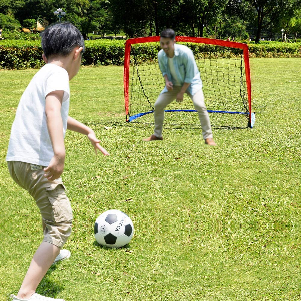 Set of 2 Youth Value Portable Soccer Goal w//Carry Bag for Kids and Teens Foldable Soccer Net 6ft x 4ft