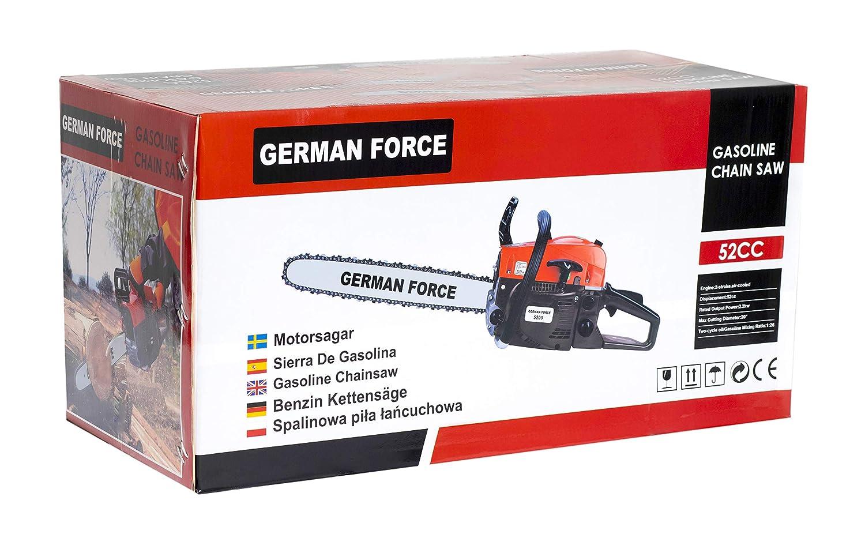 MOTOSIERRA GERMAN FORCE A GASOLINA 52CC 50CM ESPADA MOTOR 2T 2.0KW ...