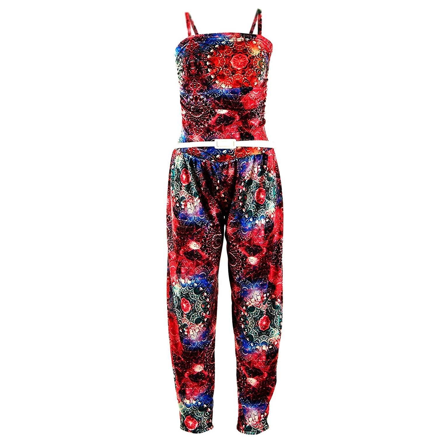 Girls Jumpsuit Kids Floral Leopard Aztec Tribal Print Trendy Playsuit All in One