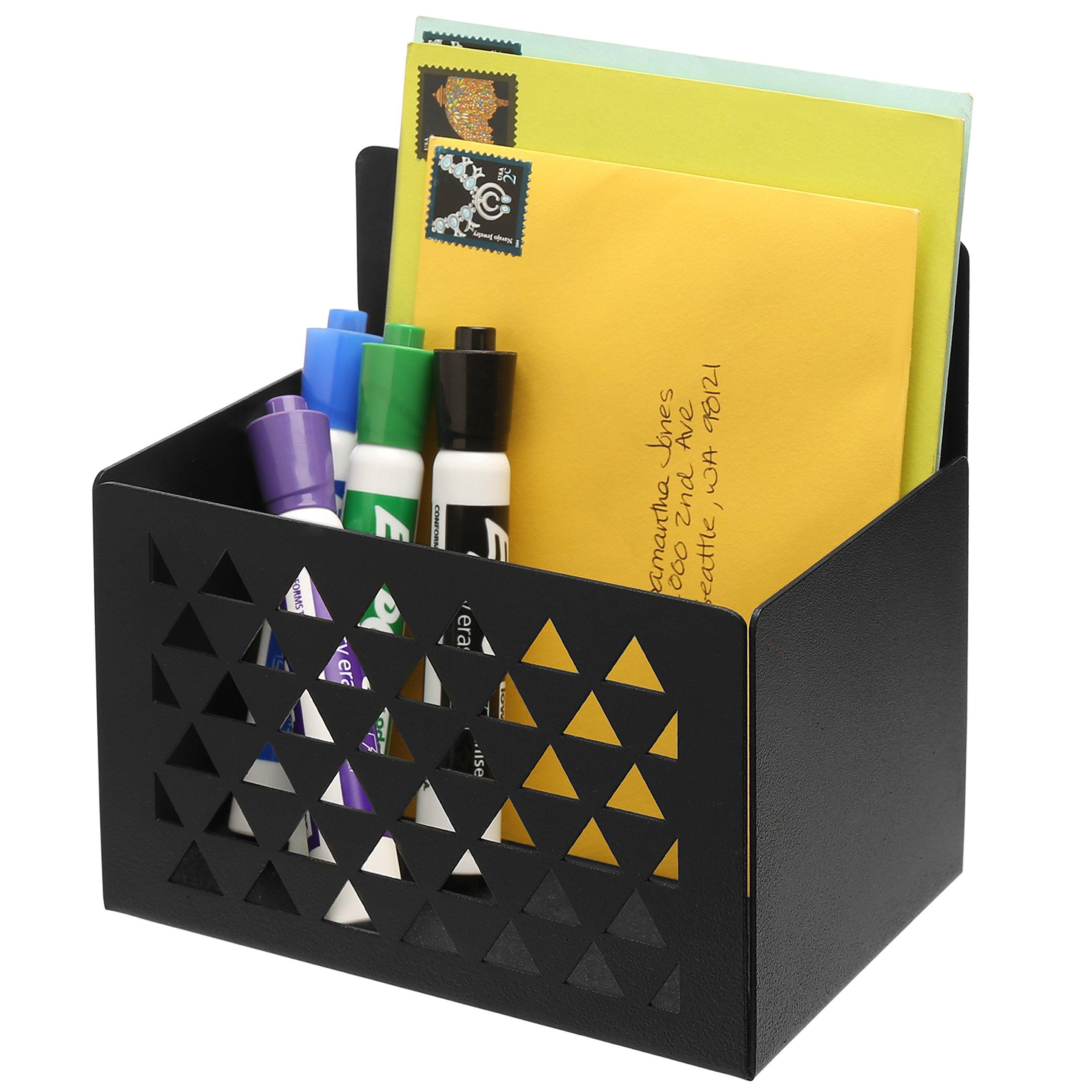 MyGift Wall-Mounted Laser-Cut Metal Storage Bin, Office Organizer & Mail Holder, Black