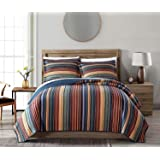 Chezmoi Collection Avery 3-Piece Multi-Color Striped 100% Washed Cotton Quilt Set King Size