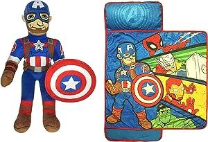 Jay Franco Marvel Captain America Pillow Buddy 2-Piece Bundle-Includes Pillow Buddy, Nap Mat