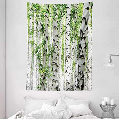 Ambesonne Woodland Tapestry, Birch Trees in The Forest Summertime Wildlife Nature Outdoors Themed Picture, Wall Hanging for Bedroom Living Room Dorm Decor, 60 X 80 , White Green