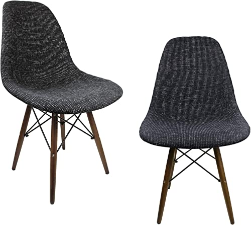 Mid-Century Modern Woven Fabric Upholstered Accent Side Dining Chair