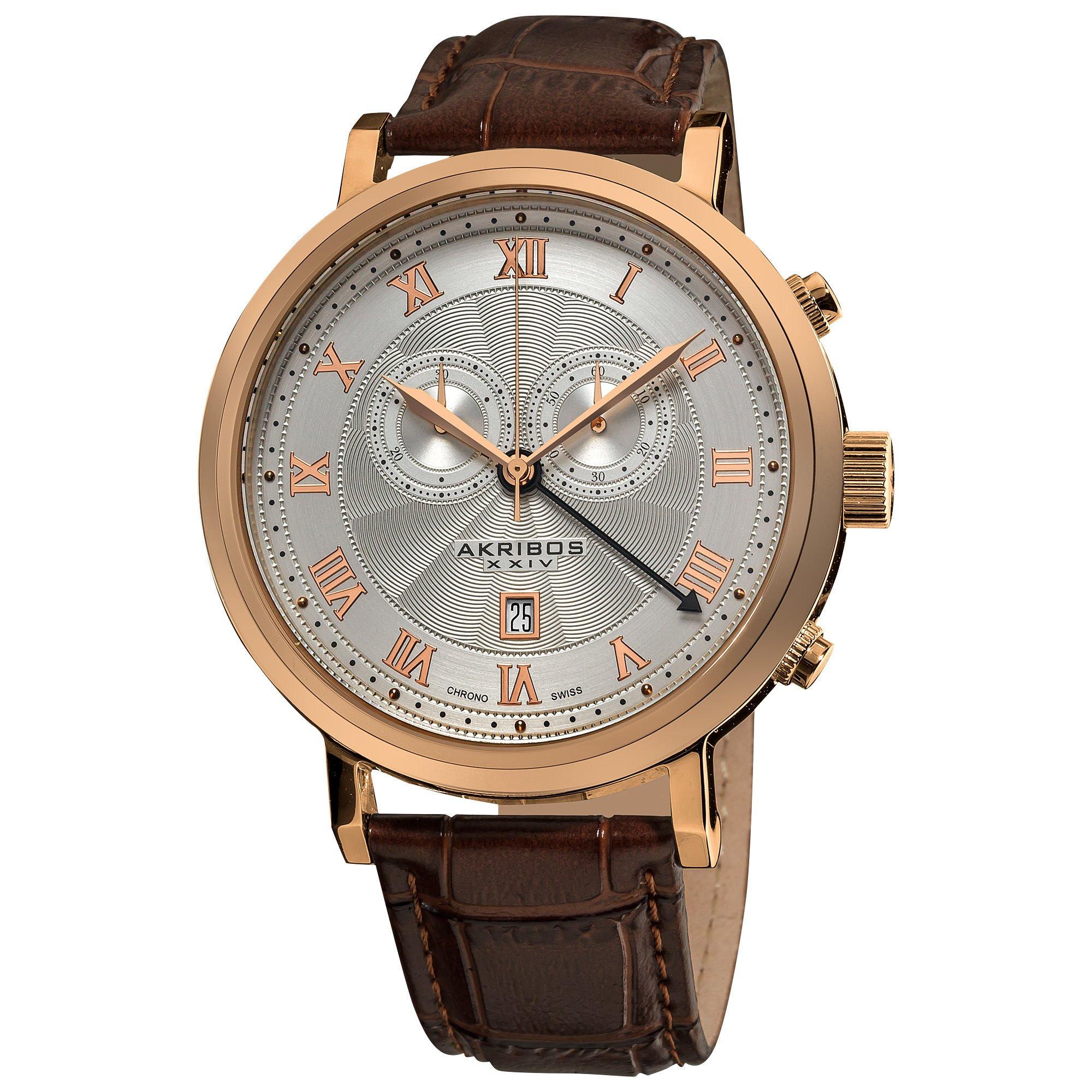 Akribos XXIV AKR591RG Men's Leather Strap Swiss Collection Chronograph Watch by Akribos XXIV