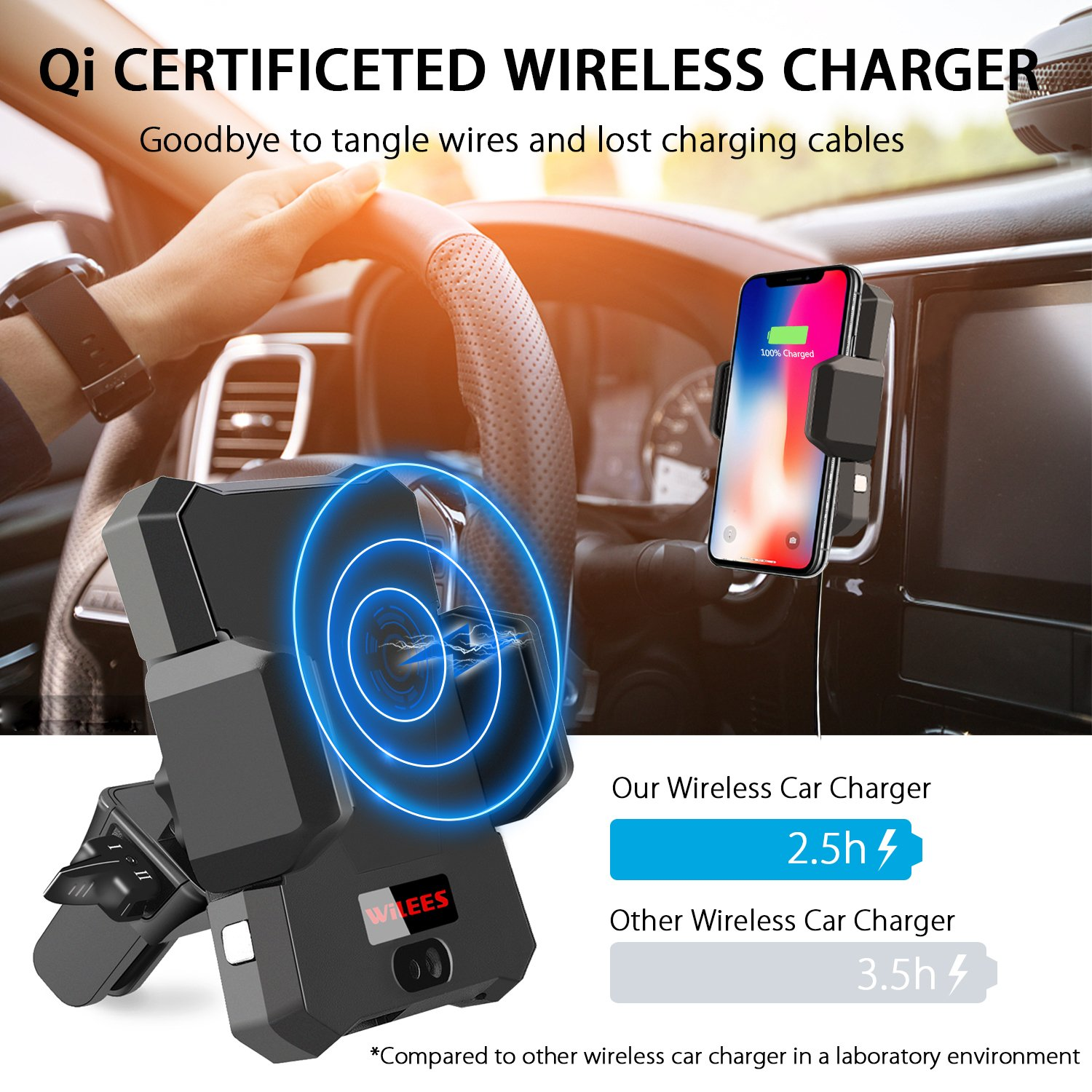 Wireless Car Charger, WiLEES Automatic Qi Wireless Car Charger Air Vent Phone Holder, True Single Hand Car Phone Mounting for iPhone X 8/8 Plus Samsung Galaxy S9 S9 Plus S8 S7/S7 Edge Note 8 5 by WiLEES (Image #2)