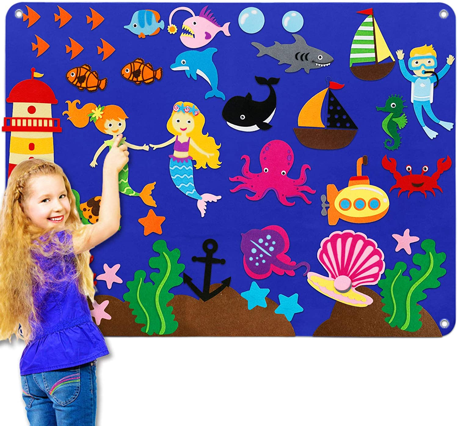 Preschool Felt Flannel-Board Stories Set for Toddlers, Under The Sea World Craft Toy Gifts for Kids, Large Wall Hang Storytelling Activity Storyboard